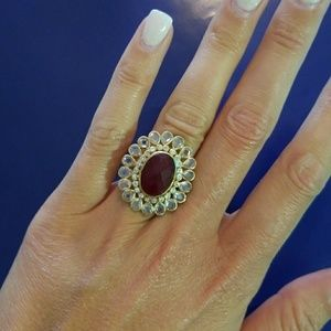 Gold cocktail banana republic ring with ruby stone